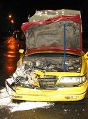 Wrecked Taxi Cab