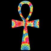 stock photo of ankh  - Very Colorful Tie Dyed Ankh on a Black Background - JPG