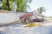 Indian Village Bullock Cart And Farmhouse Machinery