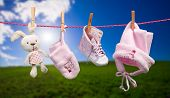 Baby clothes on the clothesline in outdoor