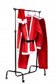 The Santa Claus clothes on clothes stander