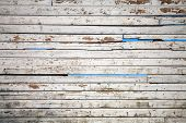 Texture Of White Weathered Wooden Lining Boards With Sky On A Background