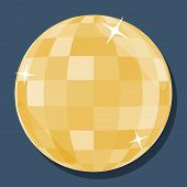Vector Golden Disco Ball  In 'flat' Style