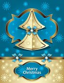 Christmas Tree from paper with bow ribbon snowflakes gold blue
