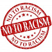 No To Racism Grunge Red Round Stamp