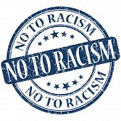 No To Racism Grunge Blue Round Stamp