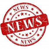 News Grunge Red Round Stamp