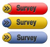 Survey button or feedback sign online checklist and satisfaction questionnaire