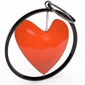 Keychain in red heart, 3D