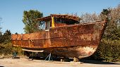 stock photo of lobster boat  - Old weathered lobster boat in Maine in the United States of America - JPG