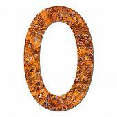 Font Rusty Steel Texture Numeric Zero 0