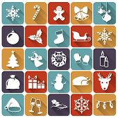 Christmas Flat Icons. Vector Illustration.