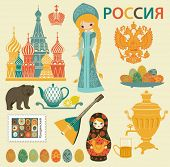 Russia Landmarks, Symbols and Icons - Set of Russia-themed design elements, including St. Basil's Cathedral, balalaika, Russian maiden, samovar and matryoshka doll