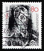 Postage Stamp Germany 1986 Bach Cantata, Detail, By Oskar Kokoschka