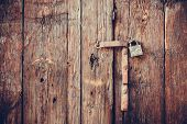 Closeup vintage old wooden door