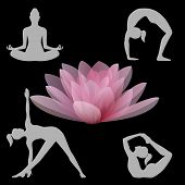 Lotus flower and yoga positions illustration