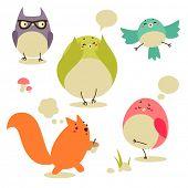 Cartoon birds and squirrel