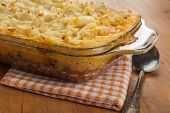 Casserole with classic shepherd's pie on a table