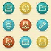 Drive storage web icons, retro buttons