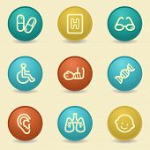 Medicine web icons, retro buttons