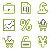 Business icons, green line contour series