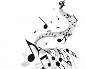 picture of musical note  - Vector musical notes staff background for design use - JPG