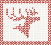 Christmas Knitted background with deer in red frame