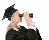Student Looking Through Binoculars