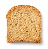 Crusty wholemeal bread toast slice on white background
