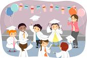 Illustration of Kids Wearing Togas and Graduation Caps