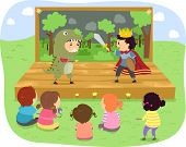 Illustration of Kids Wearing a Prince and a Dinosaur Costume Performing Onstage
