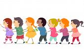 Illustration of a Group of Kids Forming a Conga Line