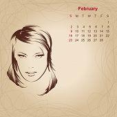 Artistic Vintage Calendar For February 2014.
