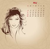 Artistic Vintage Calendar For May 2014.