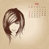 Artistic Vintage Calendar For July 2014.