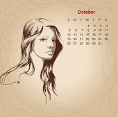 Artistic Vintage Calendar For October 2014.