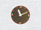 Time concept: Clock on fabric texture background