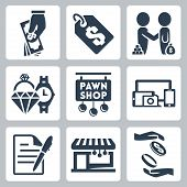 Vector Isolated Pawnshop Icons Set