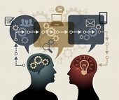 Instructive concepts and ideas. Two silhouettes of people surrounded by speech bubbles, gears, arrow