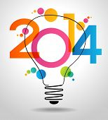 Vector 2014 Happy New Year background with bulb,.  The file is saved in the version AI10 EPS. This i