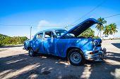 HAVANA,CUBA - DECEMBER 18, 2012: An blue american classic car in cuba