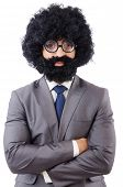 stock photo of hirsutes  - Businessman isolated on the white background - JPG