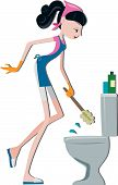 stock photo of house cleaning  - An Illustration of a Woman Cleaning Toilet Bowl against white background - JPG