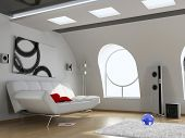 modern attic interior design (computer generated image 3D)
