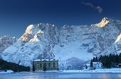 Misurina Lake and Sorapis Mountains Group in the Dolomites, Italy, Europe