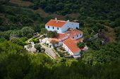 Menorca traditional Mediterranean houses aerial view from Pico del Toro