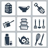 Vector Isolated Kitchenware Icons Set: Grater, Sauceboat, Corkscrew, Scoop, Bakeware, Spatula, Ladle