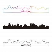 Winnipeg Skyline Linear Style With Rainbow