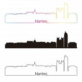 Nantes Skyline Linear Style With Rainbow