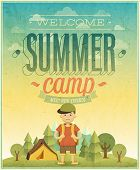Summer camp poster. Vector illustration.